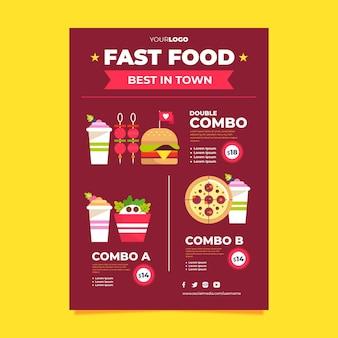 Poster di fast food di pasti combinati