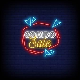 Testo di stile di insegne al neon di vendita combinata