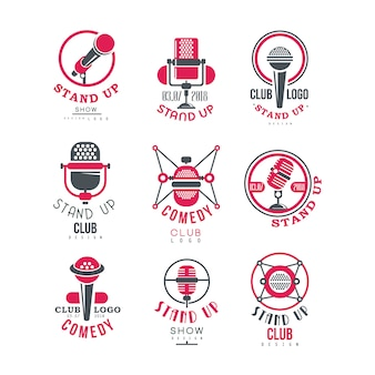 Comedy club stand up show logo design set illustrazioni