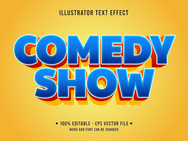 Commedia mostra testo modificabile effetto stile moderno con colore blu sfumato