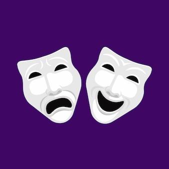 Maschere teatrali vettoriali bianche di commedia e tragedia.