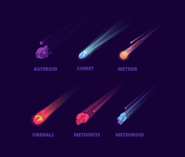 Asteroide cometa e meteorite. oggetti spaziali dei cartoni animati. insieme di vettore di palle di fuoco atmosferiche
