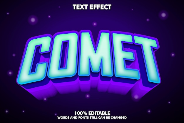 Effetto di testo modificabile cometa con sfondo scuro e stellato