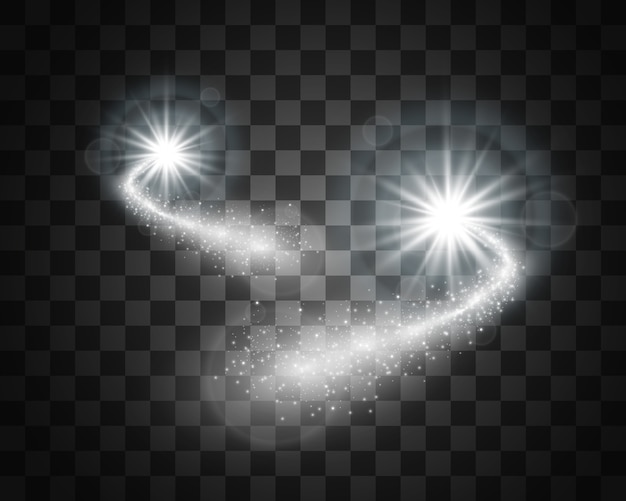 Cometa su uno sfondo trasparente. stella luminosa. bellissimo sentiero stellato. stella cadente. coda di cometa. meteor vola. oggetto spaziale.