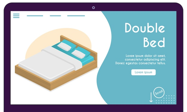 Letto comfort per coppie, cuscini, coperta nel concetto di camera da letto. illustrazione di mobili per interni dal design moderno