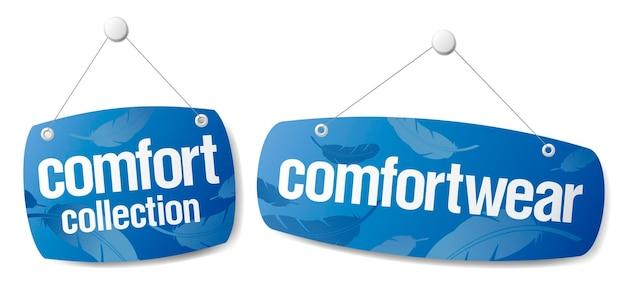 Set di adesivi vettoriali per la raccolta comfort e comfort per i vestiti