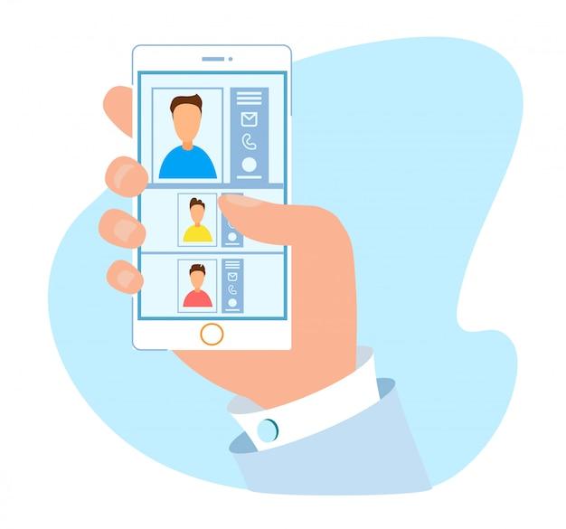 Applicazioni di libro contatti confortevoli per dispositivi mobili