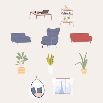 Gruppo di icone comode e domestiche