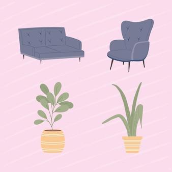 Set di icone comode e domestiche
