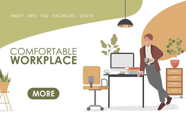 Comodo modello di pagina di destinazione piatta vettoriale sul posto di lavoro con spazio testo text