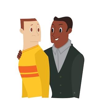 Fumetto amico confortante. uomo che conforta il suo triste amico isolato su sfondo bianco. illustrazione del personaggio dei cartoni animati.