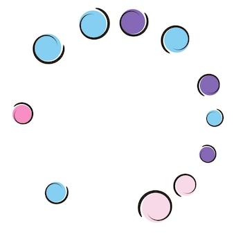 Sfondo comico con coriandoli a pois pop art. grandi macchie colorate, spirali e cerchi su bianco. illustrazione vettoriale. spruzzata infantile dello spettro per la festa di compleanno. sfondo comico arcobaleno.
