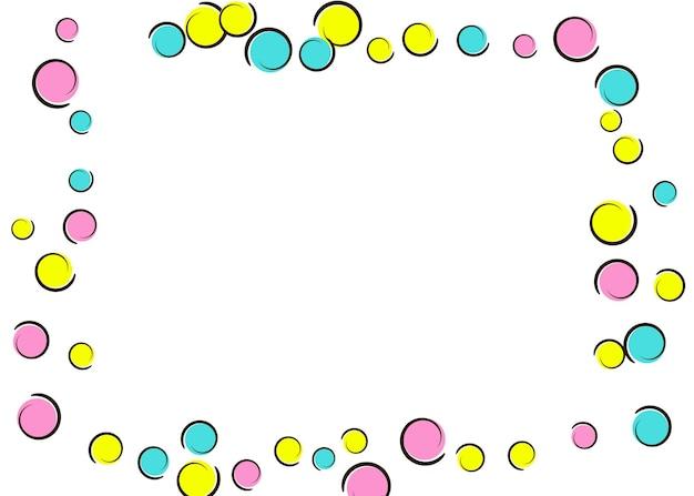 Sfondo comico con coriandoli a pois pop art. grandi macchie colorate, spirali e cerchi su bianco. illustrazione vettoriale. splatter per bambini alla moda per la festa di compleanno. sfondo comico arcobaleno.