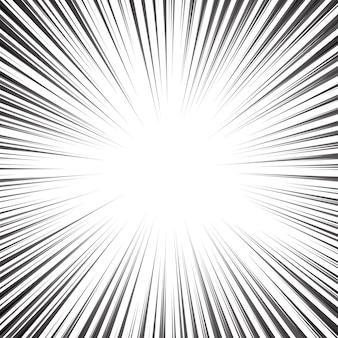 Linee radiali comiche in bianco e nero speed frame.