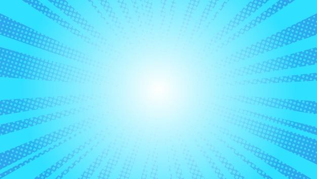 Il sole blu comico rays il retro disegno di kitsch dell'illustrazione di vettore di pop art del fondo