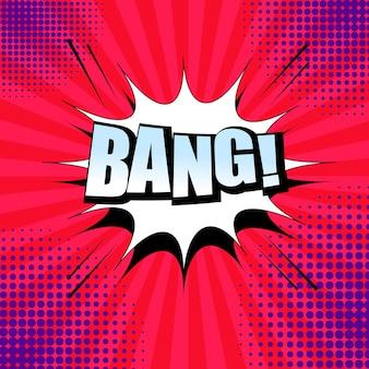 Sfondo di fumetti con parola bang luce, fumetto bianco, suono, mezzitoni ed effetti radiali.
