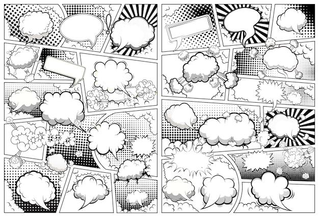 Modello di pagina in bianco e nero di fumetti diviso per linee con bolle di discorso. .