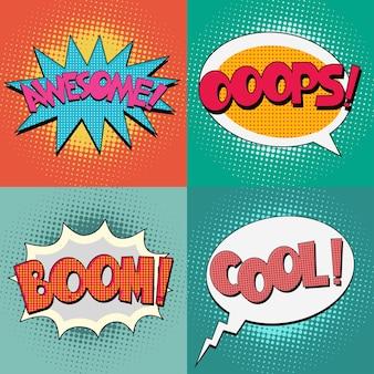 Fumetti bubble text impostato su uno sfondo con motivo a punti in stile retrò pop-art Vettore Premium