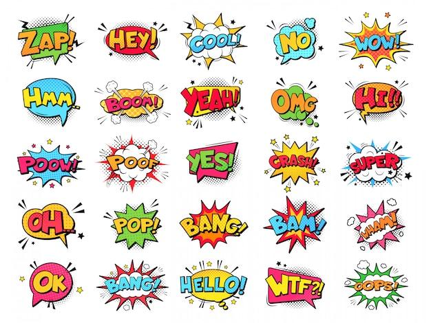 Bolle di fumetti. nuvole comiche divertenti di discorso di esplosioni del fumetto, parole dei fumetti, bolle di pensiero ed insieme grafico dell'illustrazione degli elementi del testo di conversazione. fumetti dialoghi palloncini