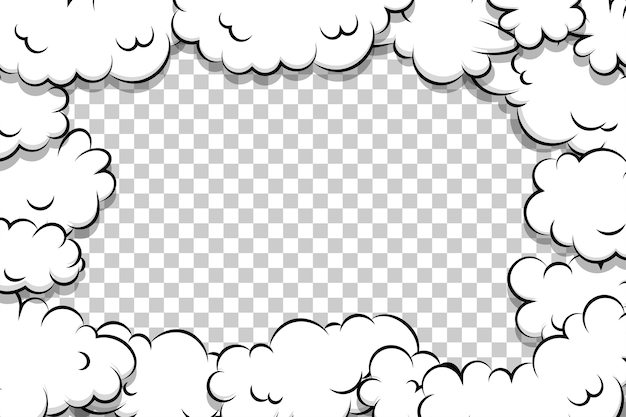 Modello di nuvola di soffio del fumetto del libro di fumetti su trasparente