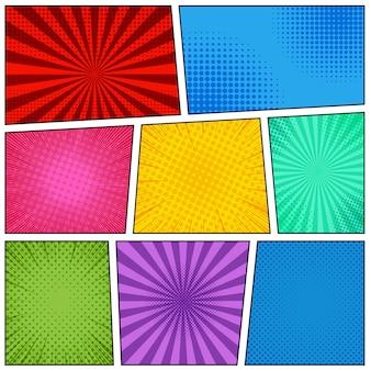 Modello di pagina di fumetti con cornici colorate luminose, mezzitoni radiali punteggiati e effetti di raggi in stile pop art. illustrazione vettoriale