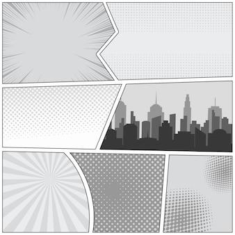 Modello di pagina di fumetti con effetti mezzitoni punteggiati radiali di raggi di paesaggio urbano nei colori grigi.