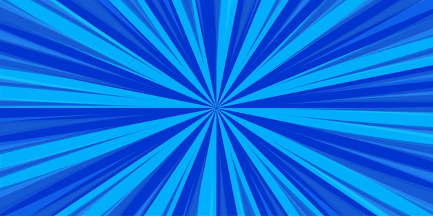 Comic book pop art striscia radiale sul blu Vettore Premium