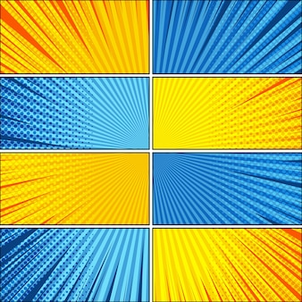 Comico sfondo luminoso esplosivo con diversi effetti di umorismo nei colori giallo e blu.