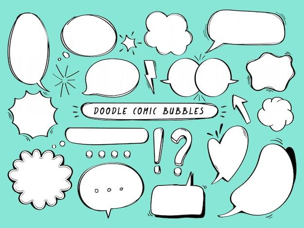 Insieme di doodle di bolle comiche.