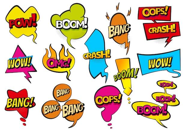 Fumetti disegnati a mano colorati fumetti. impostare adesivi retrò dei cartoni animati. illustrazione divertente. testo comico wow, boom, effetti sonori della collezione bang in stile pop art.
