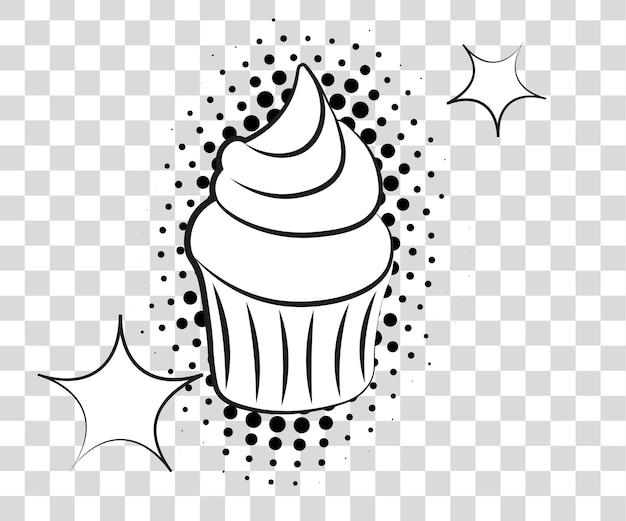 Cupcake comico con ombre di mezzitoni. illustrazione vettoriale eps 10 isolato su sfondo.
