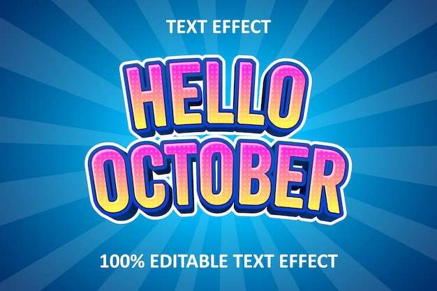 Effetto testo modificabile comico giallo rosa blu