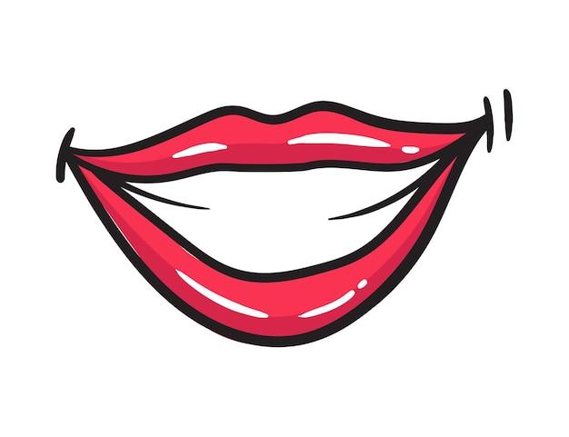 Adesivo labbra rosse femminili comici. bocca delle donne con rossetto in stile fumetto vintage. sorriso illustrazione retrò pop art.
