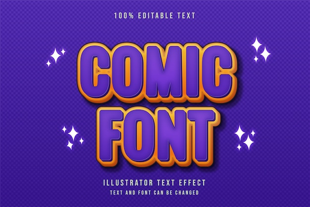 Comic font3d testo modificabile effetto viola gradazione giallo moderno stile fumetto