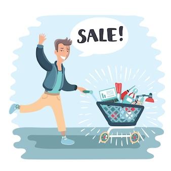Illustrazione comica. il marito trasporta il carrello della spesa pieno di acquisti.