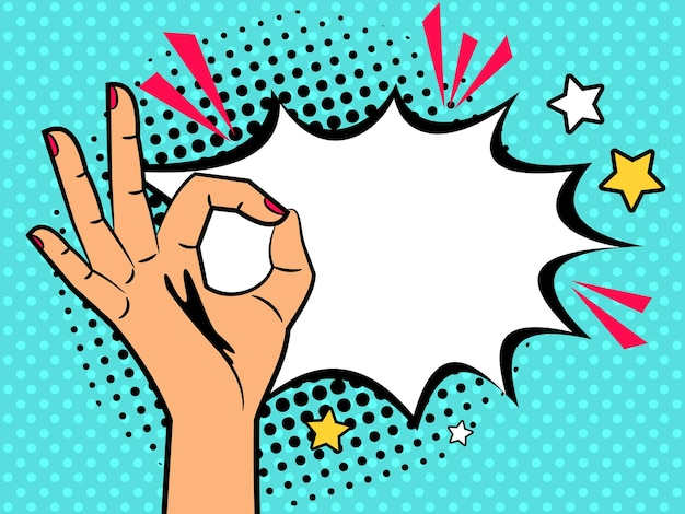 Segno ok comico. mano della donna dell'annata del fumetto con il gesto giusto e l'illustrazione della scatola di burst del testo