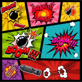 Mockup di pagina di fumetti con sfondo colorato. bomba, dinamite, esplosioni. elemento per poster, carta, stampa, banner, flyer. immagine