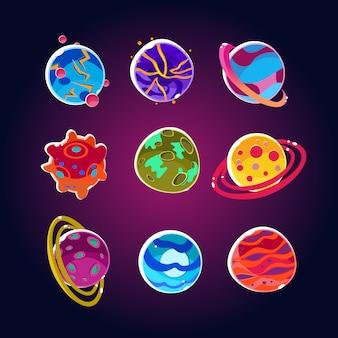 Set di pianeti comici e asteroidi spaziali