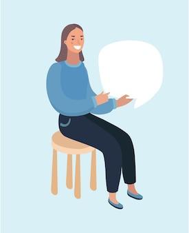 Comic pop art capelli biondi donna in rosso labutenes si siede e tiene uno striscione bianco e i suoi occhiali. illustrazione vettoriale.