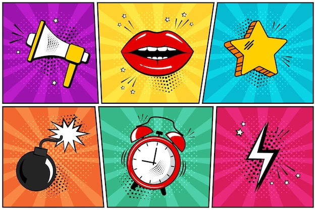 Stile fumetto pop art megafono labbra stella bomba sveglia fulmine