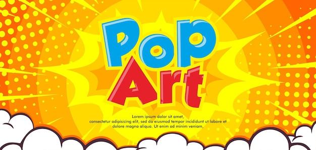 Fumetto pop art su sfondo giallo burst con cloud