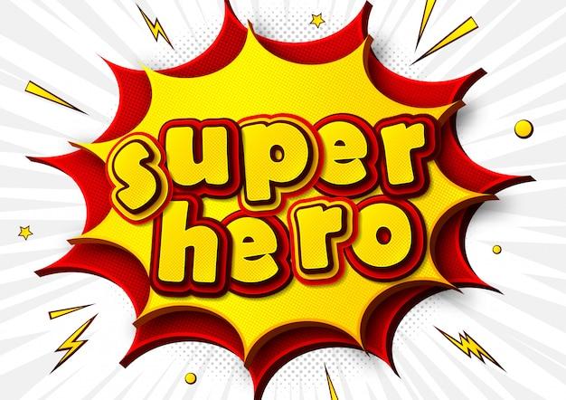 Manifesto comico con la parola supereroe in stile pop art
