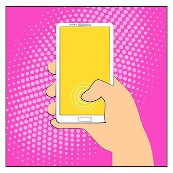 Telefono smartphone comico con ombre mezzetinte. smartphone della tenuta della mano. stile retrò pop art. design piatto. illustrazione vettoriale eps 10