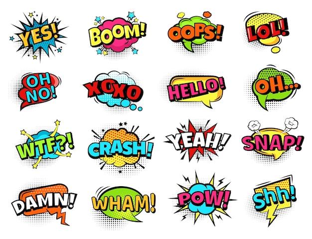 Bolle sonore comiche parole d'azione dei cartoni animati boom oops e pow sì e oh lol set