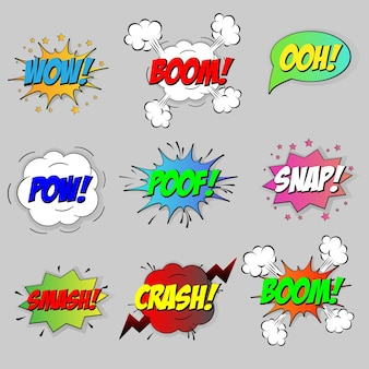 Bolle di effetto discorso sonoro comico impostate