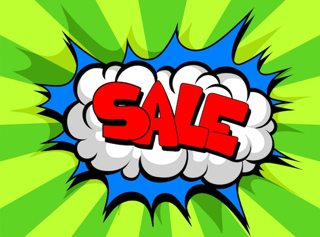 Fumetto comico con la vendita del testo, nuvola di effetto sonoro dell'illustrazione di frase di colore