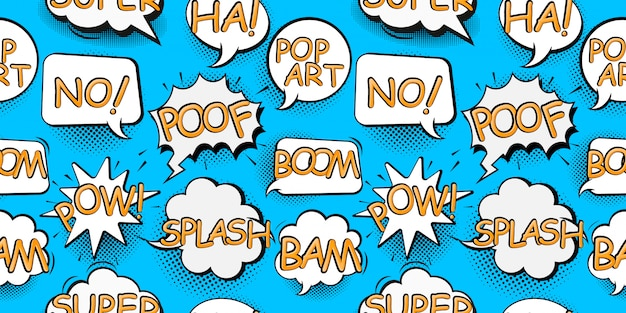 Fumetti comici in stile pop art con fumetto di bomba e illustrazione senza cuciture del testo di esplosione