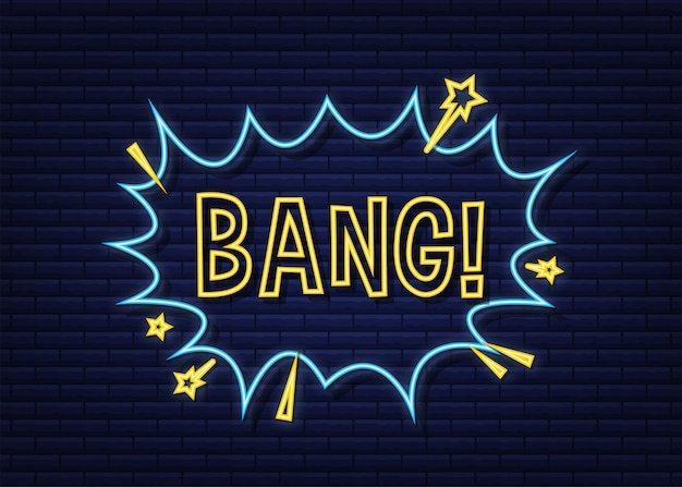 Fumetti comici con testo bang. icona al neon. simbolo, etichetta adesiva, etichetta offerta speciale, badge pubblicitario. illustrazione di riserva di vettore.