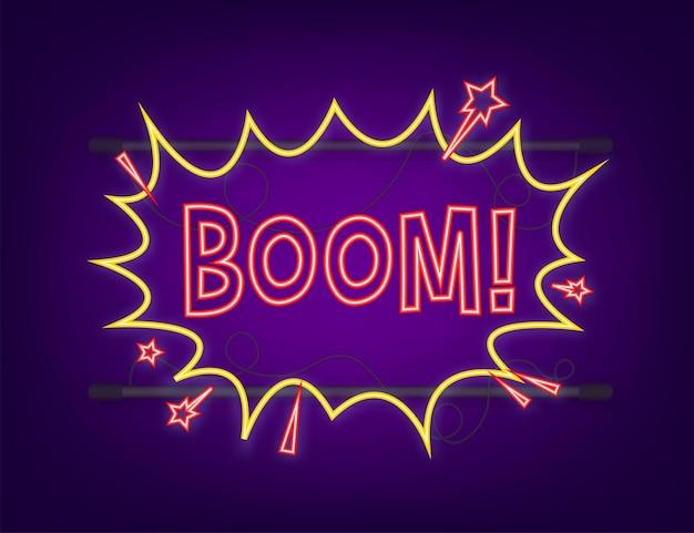 Fumetti comici con testo boom. icona al neon. simbolo, etichetta adesiva, etichetta offerta speciale, badge pubblicitario. illustrazione di riserva di vettore.