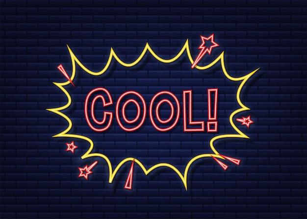 Fumetti comici con testo cool. icona al neon. simbolo, etichetta adesiva, etichetta offerta speciale, badge pubblicitario. illustrazione di riserva di vettore.